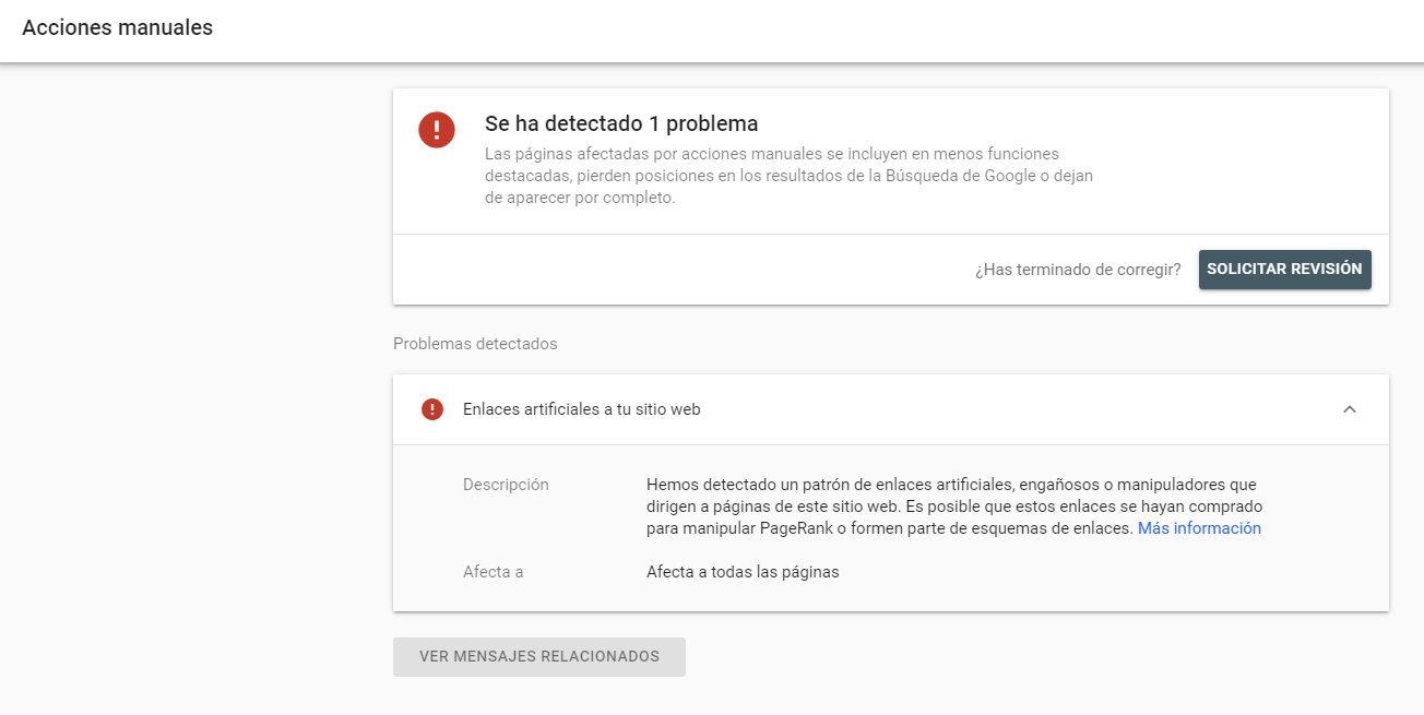 search console penalización enlaces