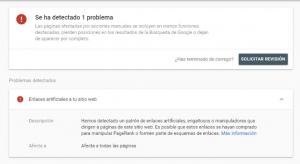 Penalización manual de Google por enlaces artificiales